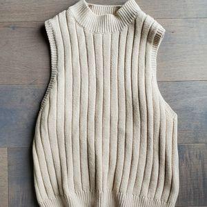 Crop mock neck knit tank
